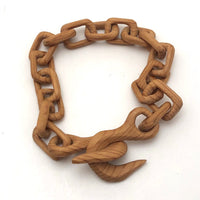 Finely Carved Blonde Wood Whimsy Chain with End Hooks - Smaller of Two