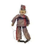 Hand-carved Old Marionette Puppet with Great Face, Hand-stitched Uniform