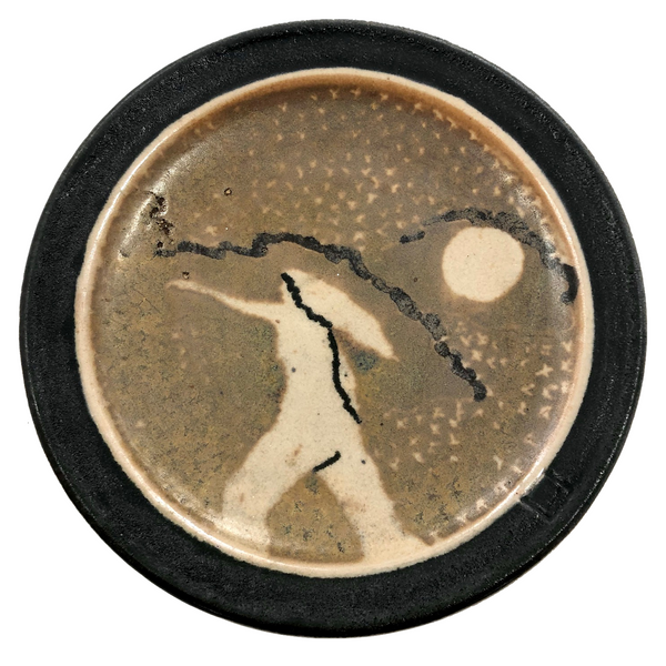Mid-Century Studio Pottery Plate with Abstracted Nude in Landscape