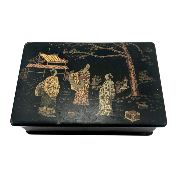 Japanese Lacquered Papier Mache Box with Three Scholars