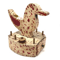 Fabulous Red and White Painted Folk Art Sewing Bird (Duck) with Drawer