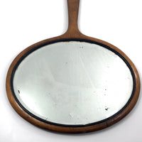 Wide, Oval-Shaped Antique Bevelled Glass Hanging Hand Mirror