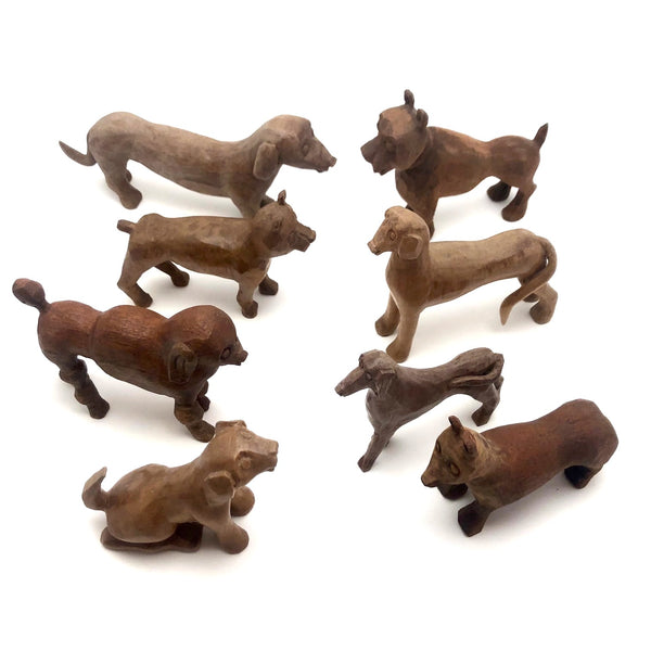 Marvelous Pack of Hand-carved Dogs - A Spectrum of Species! Sold Individually