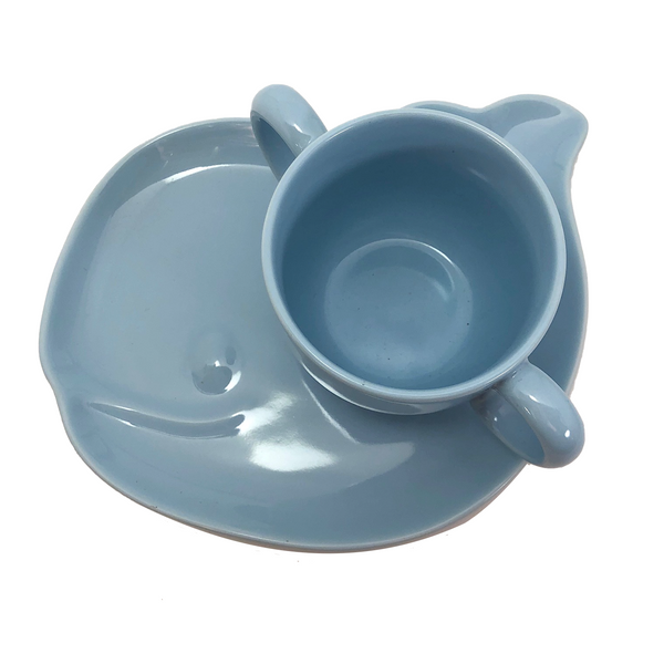 Tiffany & Co. Tiffany Tots Blue Whale Shaped Porcelain Plate and Cup