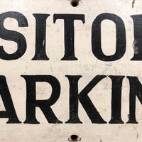 Visitors Parking Old Black and White Hand-painted Wooden Sign