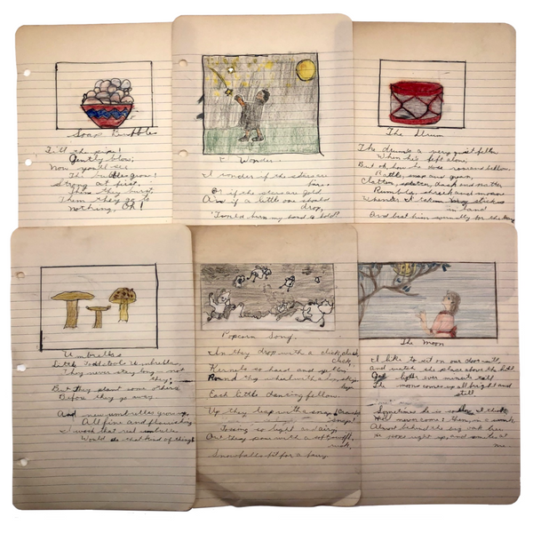 Original Drawings + Poems Found in 1938 Ladies Group Notebook - SOLD INDIVIDUALLY