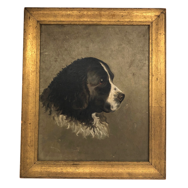 Victorian Oil on Linen Portrait of Black and White Spaniel, 1882