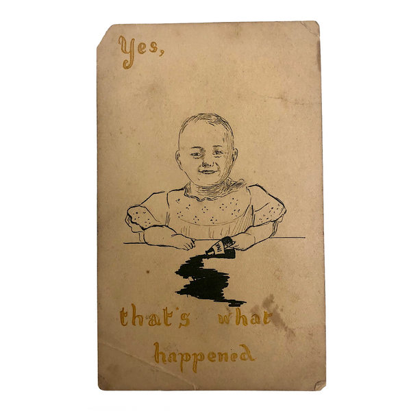 Hand-drawn Pen and Ink 1907 Child with Spilled Ink Postcard