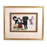 Girl with Giant Black Dog and Fairy Lady, 1870 Naive Watercolor Drawing, Framed