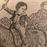 J.E. Jeffreys 19th Century British Pencil Drawing of Boy on Donkey