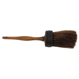 Dark Horsehair Round Painter Duster Brush with Threaded Handle