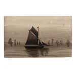 Sailboats on Water, Antique British Monochromatic Ink Wash Postcard