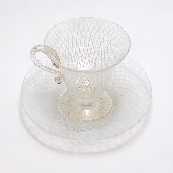 Italian Murano Glass Latticino Cup and Saucer, White and Gold