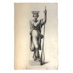 Early 19th Century French Neoclassical Charcoal Drawing of Caryatid with Oar
