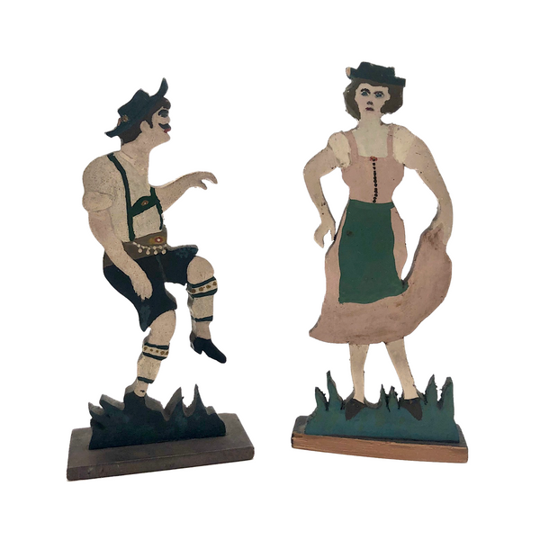 German Hand-painted Wooden Cutout Couple in Traditional Costumes