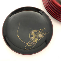 Japanese Vintage Lacquer Box With Painted Dog and Coasters