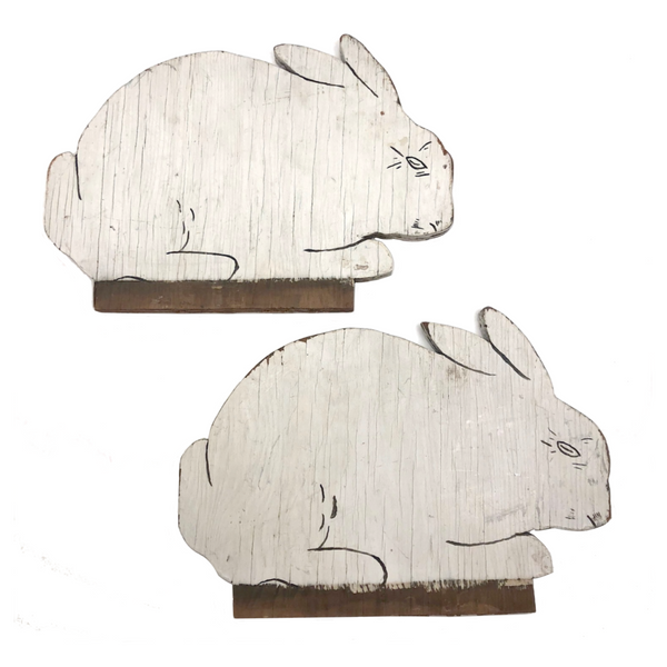 Sold - HOLD for LCM - Charming Old Painted Wooden Cutout White Rabbits - Sold Individually