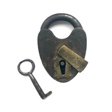 Great Antique D.M. & Co. Heart-shaped Smokehouse Padlock with Key