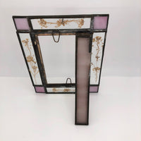 Handmade Vintage Stained Glass and Pressed Flowers Picture Frame