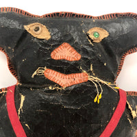 Fantastic Old Folk Art Oil Cloth Black Cat with Whiskers and Trousers