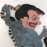 Indonesian Antique Wayang Kulit Shadow Puppet with Snake and Pitchfork