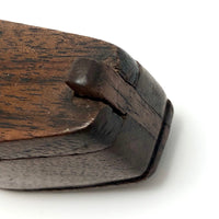 Shoe-Shaped Antique Wooden Snuff Box with Puzzle Lid