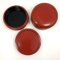 Round Orange Lacquer Vintage Japanese Stacking Boxes