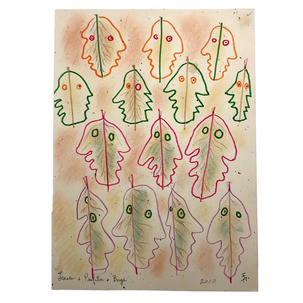 "James Bone ""Leaves & Profiles & Bugs"" 2010 Mixed Media Drawing"