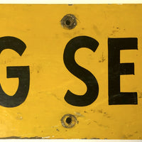 "Hand-painted Yellow and Black ""Sitting Service"" Vintage Sign"