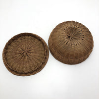 Extremely Fine Antique Penobscot Sweetgrass and Ash Splint Basket