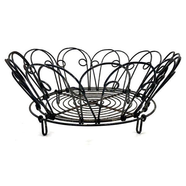 Vintage Wire Egg Basket / Bowl with Collapsible Sides