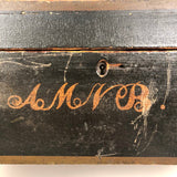 Charming 19th Century Monogrammed Document Box with Wallpapered Interior