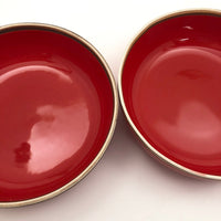Pair of Red Terrain Bowls Designed by Bo Jia