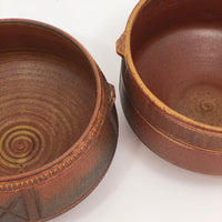Finely Incised Pair of Rusty Red Studio Pottery Serving Bowls