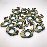 Painted and Lacquered Vintage Papier Mache Swan Napkin Rings