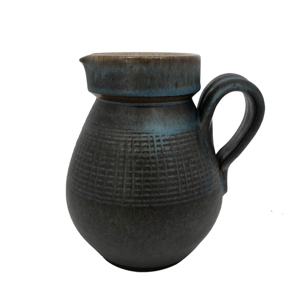 Blue Brown Mid-Century Stoneware Pottery Pitcher