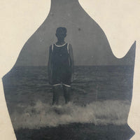 Fish Shaped Boy at Sea, Real Photo Postcard Masked Image