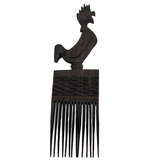 Carved Ebony African Hair Comb with Rooster