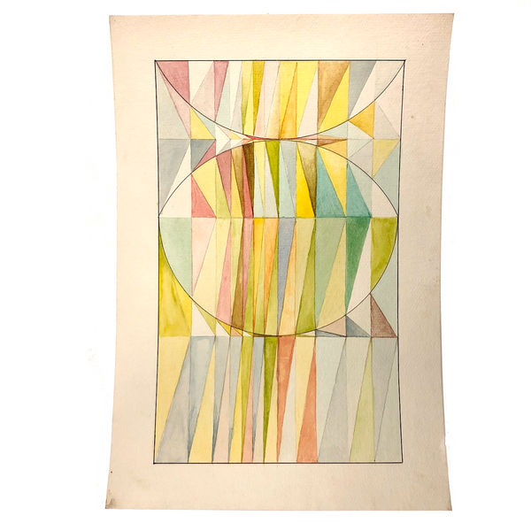 Geometric Forms Color Study Vintage Watercolor