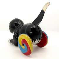 Black Tin Cat On Wheels Vintage Japanese Wind-Up Toy