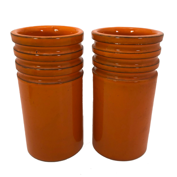 Pair of Atomic Orange Mid-Century Rosenthal Netter Canisters or Vases