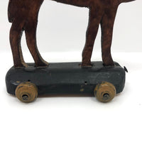Old Handmade Wooden Camel Rolling Toy