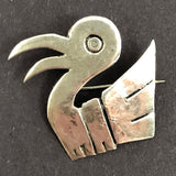 Sterling Silver Peruvian Bird-Shaped Pin in the Manner of Graciella Laffi