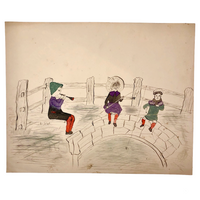 Naive Antique Drawing of Two Fishing Children and a Horn Player