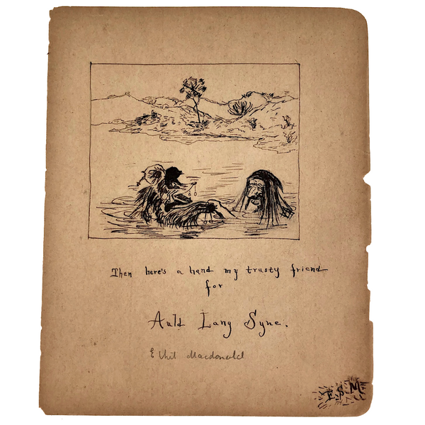 "Ink on Paper 19th Century ""Auld Lang Syne""  Man and Bear Friends Drawing"
