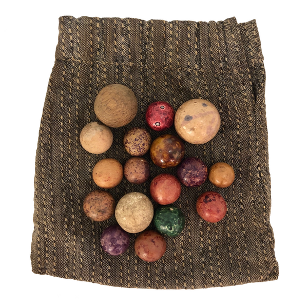 Handful of Antique Clay Marbles in Old Fabric Pouch