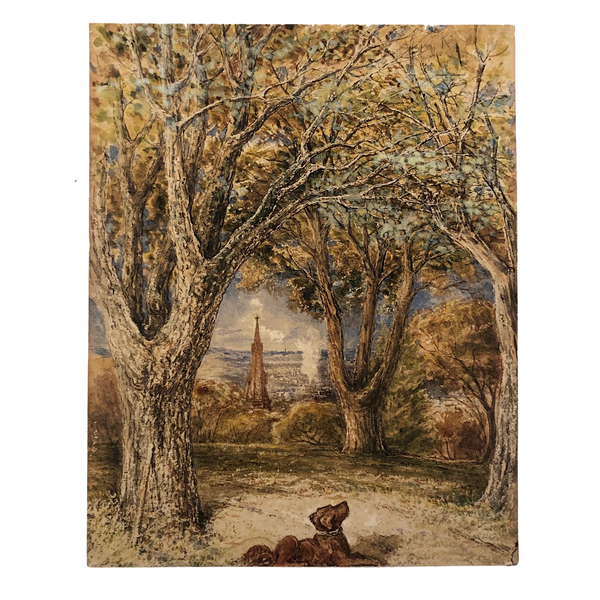 Brown Dog Under Big Trees Finely Done Old Watercolor Painting
