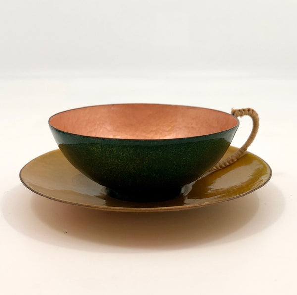 Jewel Tone Enamel Cup and Saucer with Woven Raffia Handle