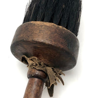 Pretty Antique Round Brush with Turned Handle and Natural Black Bristles