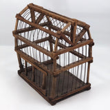 Barn-Shaped Old Handmade Wood and Wire Birdcage
